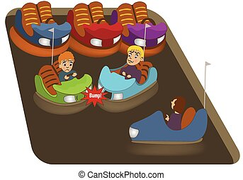 bumper cars - illustration of bumper car entertain field.