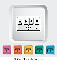 Video game Single flat icon on the button Vector...