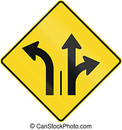 Two Lanes With Left Turn Lane in Canada - Warning road sign...