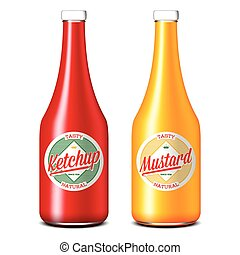 Bottles of ketchup and mustard