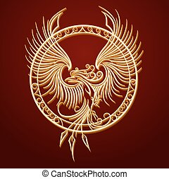 Phoenix Emblem in Circle - Phoenix Bird with rising wings in...