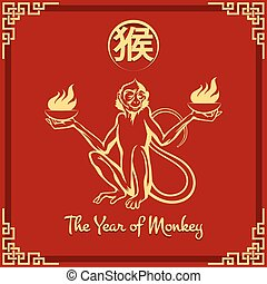 Year of the Monkey - Chinese zodiac of Fire monkey with...