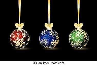 Three colored Christmas spheres