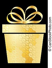 Christmas illustration with gift box on gold