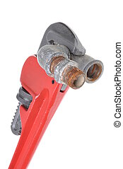 Red plumbers pipe wrench