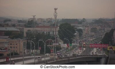 Fast traffic on the bridge - a large number of cars on the...