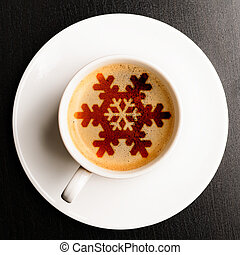 christmas coffee - cup of fresh coffee on table, view from...