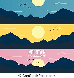 Panorama vector illustration of mountain ridges - Panorama...