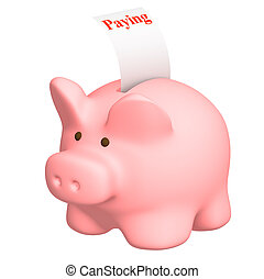 Paying - Piggy bank with a paying check