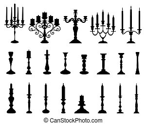 candlesticks - Black silhouettes of candlesticks, vector