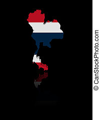 Thailand map flag with reflection illustration