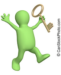3d puppet, holding in hand a gold key