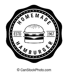 Home made Hamburger, french fries soft drink badge