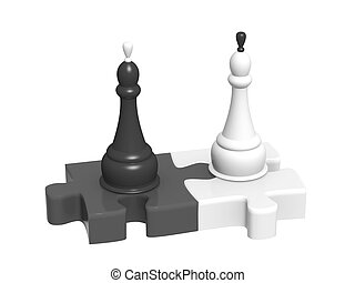 Black and white - Two part of puzzle and chess kings