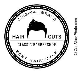 barbeiro, loja, emblema,