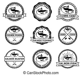 emblema, peixe, salmão, pesca