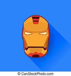 Superhero Mask Isolated on Blue Background. Flat Design....
