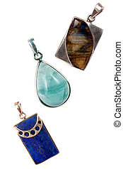 Silver Gemstones Pendants - Silver pendants made of various...