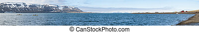Panorama of Longyearbyen fjord in summer, Svalbard -...