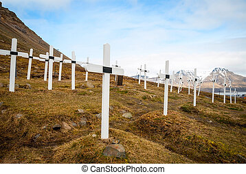Cemetery in Longyearbyen, Svalbard - Cemetery with white...