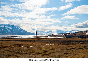 Longyearbyen city in summer, Svalbard - Houses in...