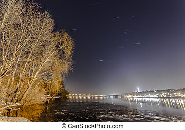 The Dnieper river is frozen - KievUkraine - January 07, 2015...