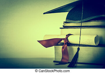 Graduation Scroll and Book Stack Cross Processed - A...