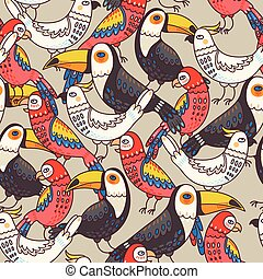 Seamless macaw and toucan - Decorative macaw, toucan and...