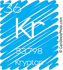 Informative Illustration of the Periodic Element - Krypton -...