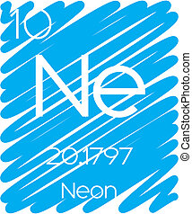 Informative Illustration of the Periodic Element - Neon - An...