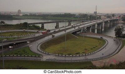 highway interchange of a city timelapse - view of highway...