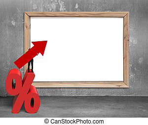 Businessman holding arrow symbol on percentage sign with...