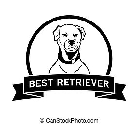 best, retriever, Etiket, badge,