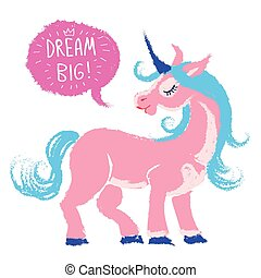 Pink Unicorn with speech bubble - watercolor vector illustration. Cute unicorn with blue haur and horh saing something with close eyes. Hand drawn grunge paint with brush strokes. Magic creature from faery tale.