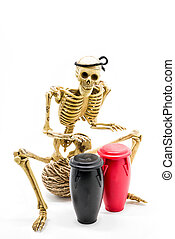 Model skeleton playing congas drum, on white background