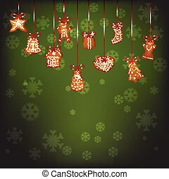 Hanging christmas gingerbread for Xmas decoration, green...