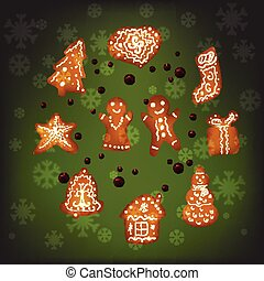 Christmas gingerbread for Xmas decoration, green background,...