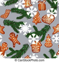 Christmas gingerbread seamless pattern surrounded by falling...