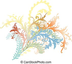 Ornate curly flower vines and leaves - Colorful flourishes,...