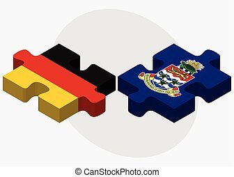 Germany and Cayman Islands Flags in puzzle isolated on white...