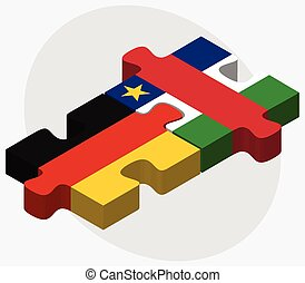 Germany and Central African Republic Flags in puzzle...