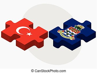 Turkey and Cayman Islands Flags in puzzle isolated on white...
