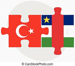 Turkey and Central African Republic Flags in puzzle isolated...
