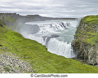 Gullfoss - cloudy scenery including the Gullfoss waterfall...