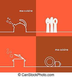 Cookware Set kettle, pot, spoon, fork, knife, cup, saucer