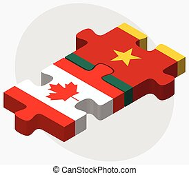 Canada and Cameroon Flags in puzzle isolated on white...