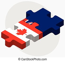 Canada and Cayman Islands Flags in puzzle isolated on white...