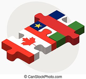 Canada and Central African Republic Flags in puzzle isolated...
