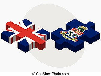 United Kingdom and Cayman Islands Flags in puzzle isolated...