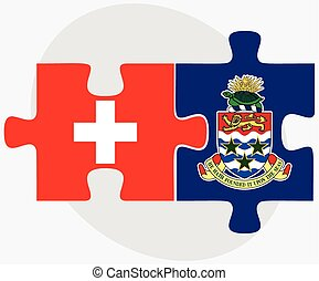 Switzerland and Cayman Islands Flags in puzzle isolated on...